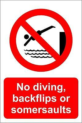 No Diving Backflips or Somersaults Swimming pool Safety sign