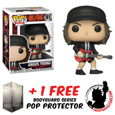 Funko Pop Ac/dc Angus Young Vinyl Figure + Free Pop Protector