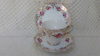 Vintage Royal Standard China Trio Tea Cup Saucer Plate Gilded Pink Roses