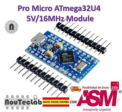 Pro Micro ATmega32U4 5V/16MHz Module with Pin Header for Arduino Leonardo