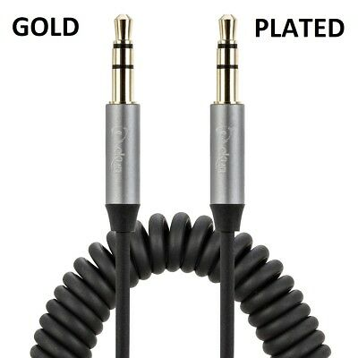 2M GOLD PLATED Grey Coiled 3.5mm AUX Cable Mini Jack to Jack Male Audio AuX