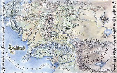A3 Poster - Middle Earth Map (Lord of the Rings Hobbit DVD Blu-Ray Picture Art)