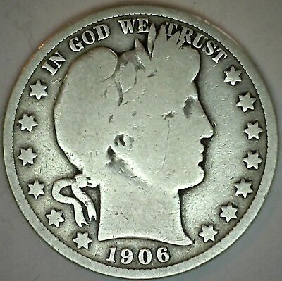 1906 D Silver Barber Half Dollar US Type Coin Fifty Cents 50c Good K51