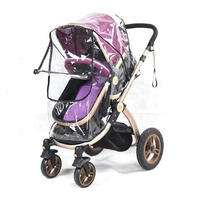 Universal NEW Buggy Pushchair Stroller Pram Transparent Rain Cover with Zip Baby