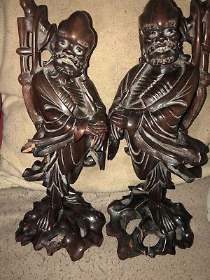 Pair Of Carved Old or Antique Chinese/Japanese Wooden Figures of Warrior Type