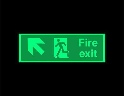 Fire exit up left running man Safety sign - photoluminescent