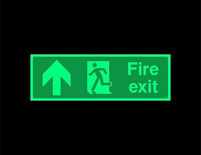 Fire exit up running man Safety sign - photoluminescent