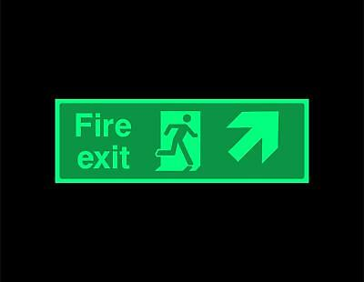Fire exit Diagonal up right Safety sign - photoluminescent