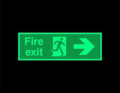 Fire exit right Safety sign - photoluminescent