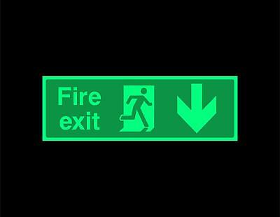 Fire exit Down Safety sign - photoluminescent