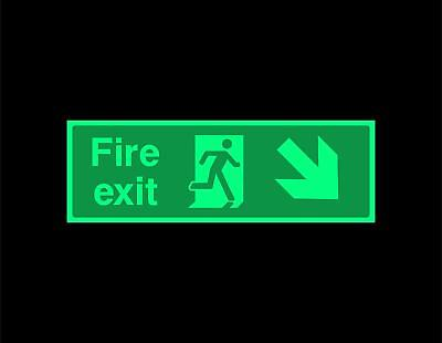 Fire exit diagonal Down right Safety sign - photoluminescent