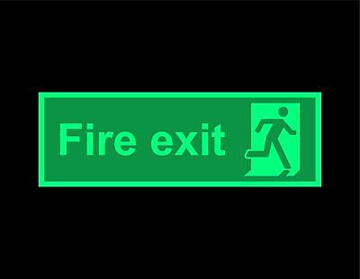 Fire exit running man right safety sign - photoluminescent