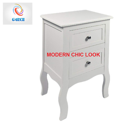 Chic White Wooden Bedroom Bedside Table Unit Cabinet Nightstand with 2 Drawers