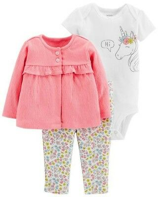 f32f40a27632 NWT CARTERS BABY Girl Clothes 3 Months 3 Piece Unicorn Jacket ...