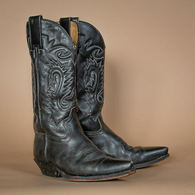b3a61dc84d0 VINTAGE SENDRA BLACK Leather Cowboy Boots Western Festival Men's UK 6 EU 39  US 7