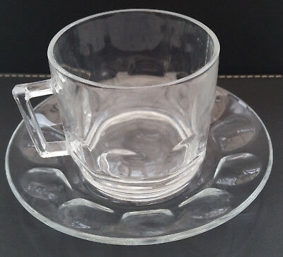 Arcoroc Thumbprint  Clear Glass Cup And Saucer Pyrex Type Vintage Retro