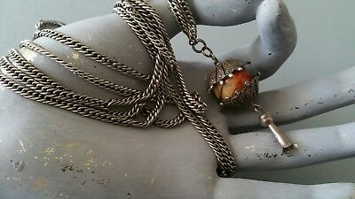 "Antique Victorian French Silver 59"" Muff Guard Chain, Coral High Style Pendant."