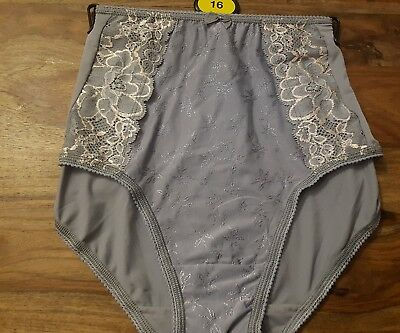 Knickers M&S Jacquard Lace High Rise Full Brief Size 16