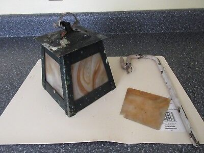 Antique Arts & Crafts Copper Hanging Electric Light / Lantern W/ Slag Glass Pane