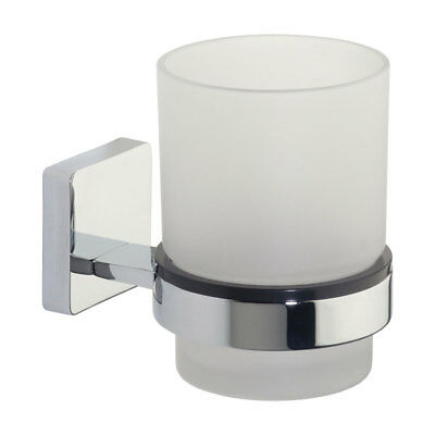 *NEW* Roper Rhodes Glide Frosted Glass Toothbrush Tumbler & Chrome Wall Holder