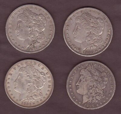 Old Silver Dollars 19th Century, Genuine, Authentic, 4 Rare Coins 1880-1921
