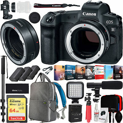 Canon EOS R Full-Frame Mirrorless Camera Body with Mount Adapter EF-EOS R Bundle