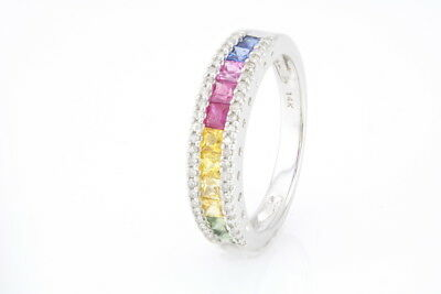 14K White Gold 1.07ct Rainbow Multi Sapphire & .16ct Diamond Accent Band Ring