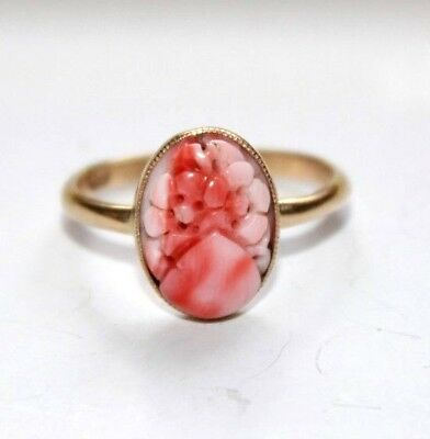 Stunning antique Art Deco large flower carved coral 9 ct gold ring size T