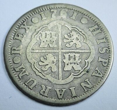 1761 Spanish Silver 2 Reales Piece of 8 Real Two Bits Old Pirate Treasure Coin