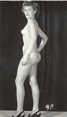 Original Vintage 1940s-50s Nude Rp- Side View- Standing- Legs- Tacones Butt