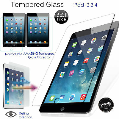 Premium Genuine Tempered Glass Screen Film Protector For Apple iPad 2/ 3 /4 UK !