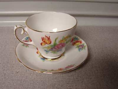 Gladstone gold trim and floral design Teacup made in England and Saucer tea cup