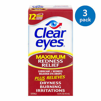 Clear Eyes Maximum Redness Relief 0.5 Oz 3-Pack