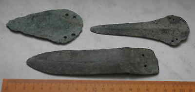 A collection of knives of the Bronze age 100% original  Metal detector finds.