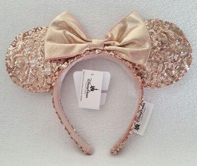 Disney Parks Rose Gold Minnie Mouse Ears Rose Gold Headband With Ears NEW