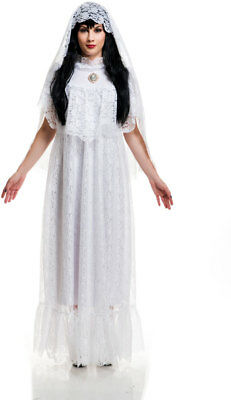 Vintage Bride Full Length Gown Lace Halloween Religious Costume Adult Women