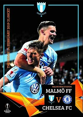 Programme Malmo Sweden v Chelsea 2019 Europa League.12 pages Size A4. Unofficial