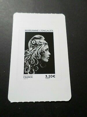 FRANCE, 2018, timbre neuf** GRAND FORMAT MARIANNE ENGAGEE NOIRE AUTOADHESIF MNH