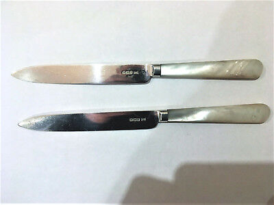 Pair Silver Cutlery Knives, 7.1/4in, M o P Handles, SHEFFIELD 1915 WALKER & HALL