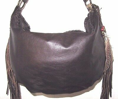 80055a28c8bf Patricia Nash Brown Leather Fringe Vincenzo Slouchy Hobo Shoulder Bag NWT   299