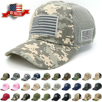 66a870f42a2 Baseball Cap Mens Tactical Army Cotton Military Dad Hat USA American Flag  Mesh