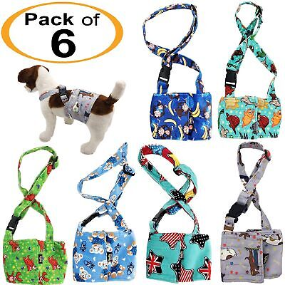 PACK of 6 Dog Male Diapers BELLY BAND Wrap Washable SOFT Fleece SUSPENDERS XS -L