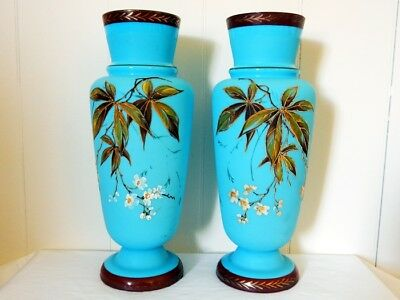 Superb Pair of Large Antique Victorian Powder Blue Glass Vases Apple Blossums