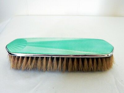 Antique Art Deco 1935 Green Guilloche Enamel Sterling Silver Clothes Hair Brush