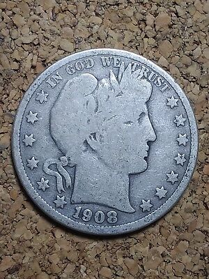 1908 D 50C Barber Half  Circulated  90 % Silver US Coin BH207 G+ FREE SHIPPING