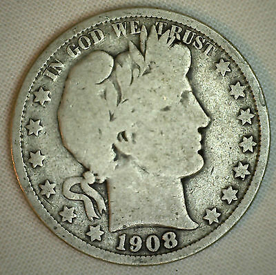 1908 O Barber Half Dollar Silver Type Coin Fifty Cents 50c Very Good New Orleans