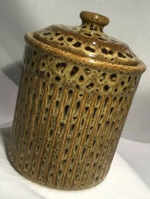 Light & Dark Brown Ribbed & Spotted Porcelain Decorative CANISTER Made In China