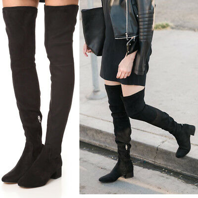 f89769e1a6f  200 DOLCE VITA Jimmy Over the Knee BOOTS 7.5 Black Faux Suede Block Heel  NEW