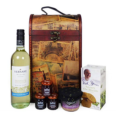 The Premium Clarendon Vintage Style Keepsake Chest Gift Food Hamper with 750ml -