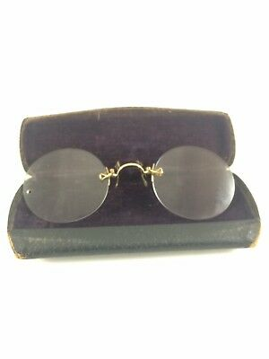 Antique Reading Glasses/ Spectacles Gold Filled With Case Anson Cobb Maine